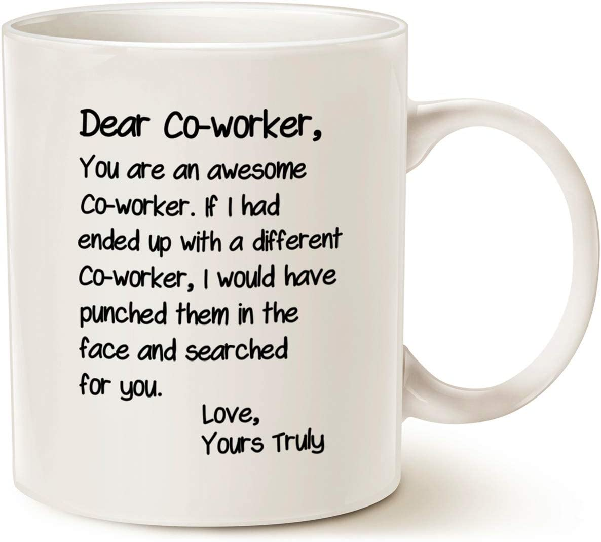 MAUAG Funny Bosses Day Co-worker Coffee Mug, Best Office Gifts for Coworker Cup, White 11 Oz