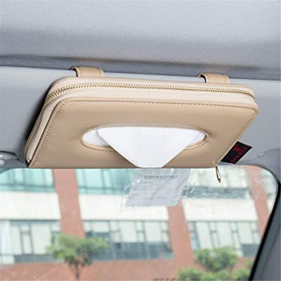 Fredyusu Car Tissue Holder, Car Visor Tissue Holder, Sun Visor Napkin Holder, PU Leather Backseat Tissue case Holder for car (Beige): Automotive