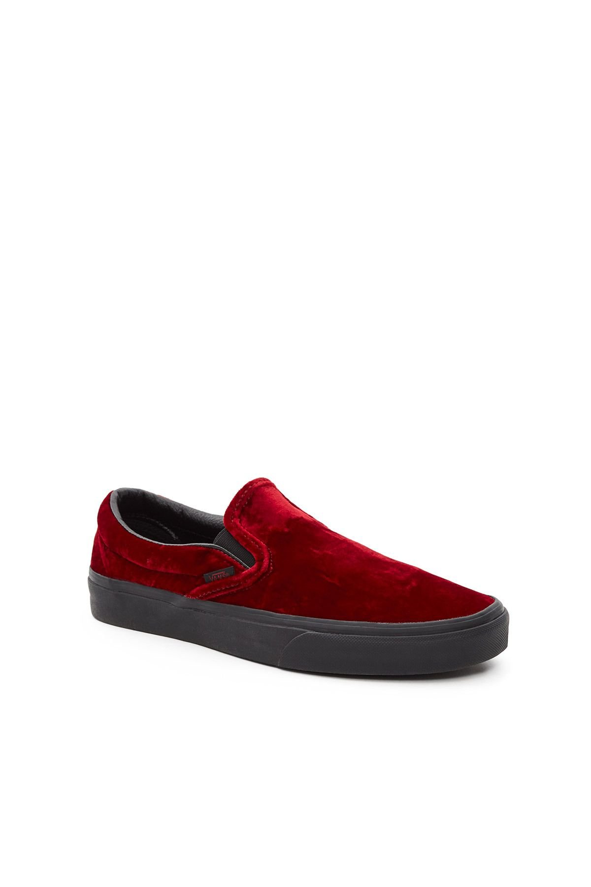 18a3516c29e6 Vans Classic Slip on Womens Unisex Velvet Oxblood Red Black Shoes ...