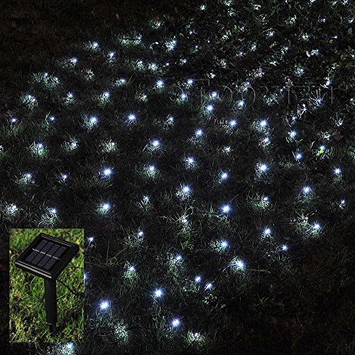 1Mx2M Solar Net Led String Lights Christmas,eTopxizu 3.28Ft x 6.56Ft 120led 8 Modes Solar Powered Outdoor Home Garden Path String Light Lamp Wall for Outside Garden Camping Patio Party Xmas,Cool White