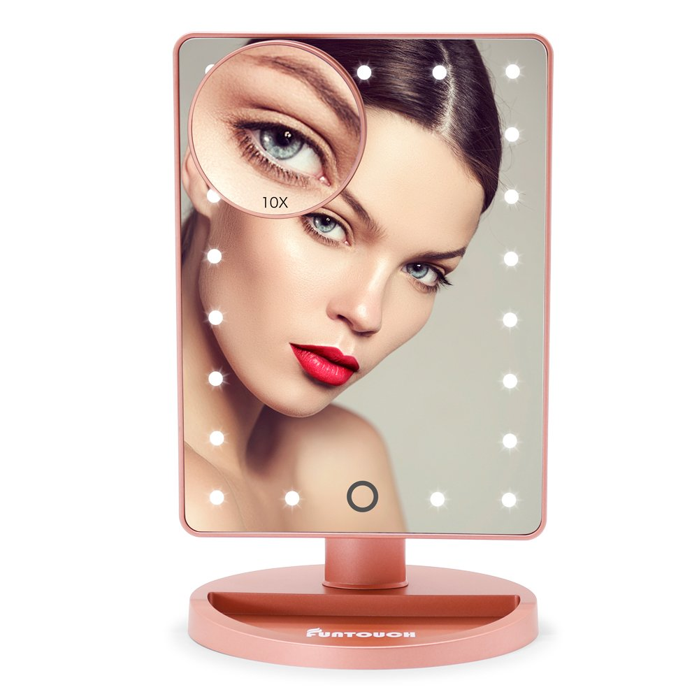 LED Lighted Makeup Mirror, FUNTOUCH Lighted Vanity Mirror with 21 LED Lights and Touch Screen Dimming, Detachable 10X Magnification Spot Mirror, Battery Powered High Definition Clarity Cosmetic Mirror