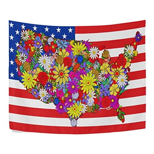 Patriotic United States Flag Chrysanthemum American Map