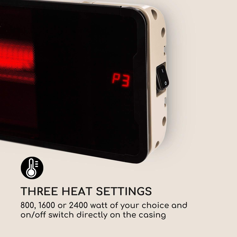 Aluminio Interruptor de Encendido en la Carcasa Gris Blumfeldt Phantom Plus Calefactor Mando a Distancia 800//1600//2400W Emisor de Calor de Carbono Panel de Vidrio Certificado IP55