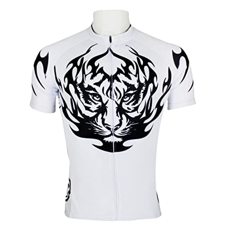 Amazon.com   Paladinsport Men s Tiger White Short Sleeve Bicycle ... 420a6bd4e