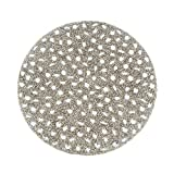 SARO LIFESTYLE 442.S15R 4-Piece Beaded Design Placemat Set, 15-Inch, Silver, Round