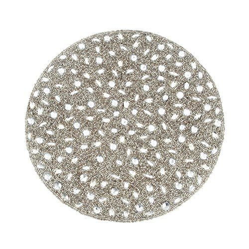 SARO LIFESTYLE 442.S15R 4-Piece Beaded Design Placemat Set, 15-Inch, Silver, Round by SARO LIFESTYLE