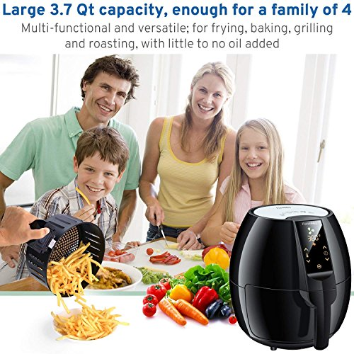 FrenchMay Touch Control Air Fryer, 3.7Qt 1500W, Comes with Recipes & Cook Book (Black) by FrenchMay Air Fryer (Image #2)