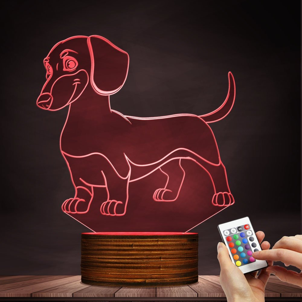 Dachshund LED Night Light 3D Decorative Lighting Color Changing Acrylic Lamp Gift for Dog Lovers