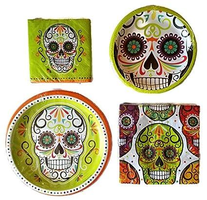 Day of the Dead Dia De Los Muertos Party Supplies Paper Plate and Napkin Bundle Set  sc 1 st  Amazon.com & Amazon.com: Day of the Dead Dia De Los Muertos Party Supplies Paper ...