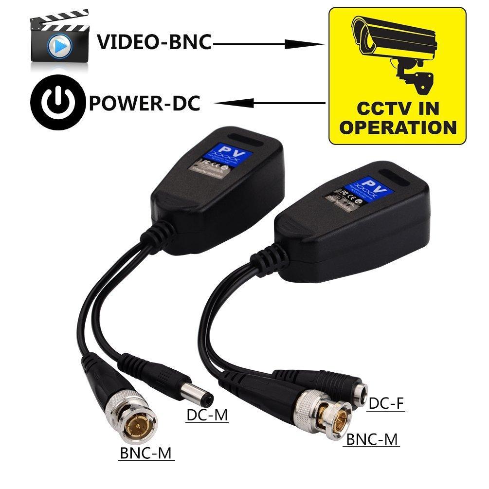 VONOTO 2PCS HD-CVI//TVI//AHD Passive Video Balun with Power Connector and RJ45 CAT5 Data Transmitter 3216563020 Video Balun Transmitter