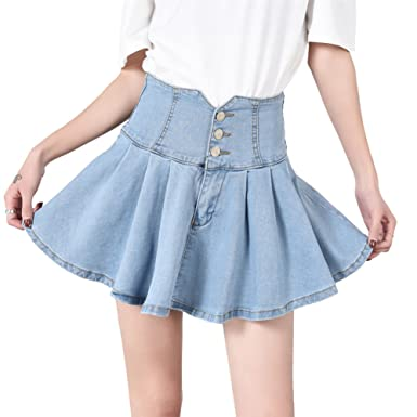 b71bc75479 Congcong Women's Denim High Waist A-line Ruffle Pleated Mini Skirt (Light  Blue,
