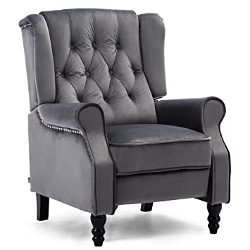 Awe Inspiring More4Homes Althorpe Wing Back Fireside Recliner Fabric Bonded Leather Occasional Armchair Sofa Chair Slate Grey Velvet Machost Co Dining Chair Design Ideas Machostcouk