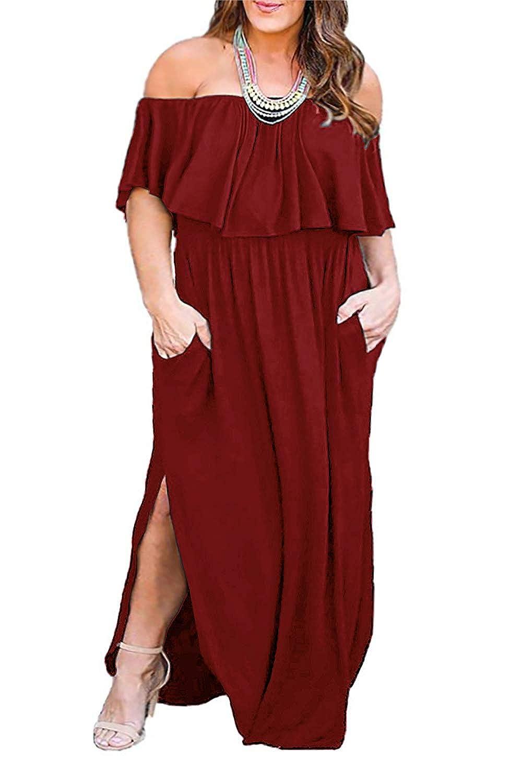 Nemidor Women\'s Upper Flounce Layer Off Shoulder Plus Size Slit Maxi Dress