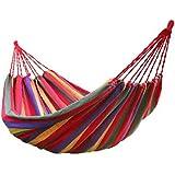 Hamacas de algodón al aire libre una persona portátil compacta Hamaca de viaje de viaje con cuerdas de árboles y bolsa de transporte para Patio Jardín Playa Beach 200 * 100 cm