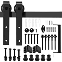 6.6 FT Black Barn Door Hardware Kit, Dulcii Steel Slide Sliding Track Rail Hanger Roller 200cm Door Hardware Black Antique Handles Included