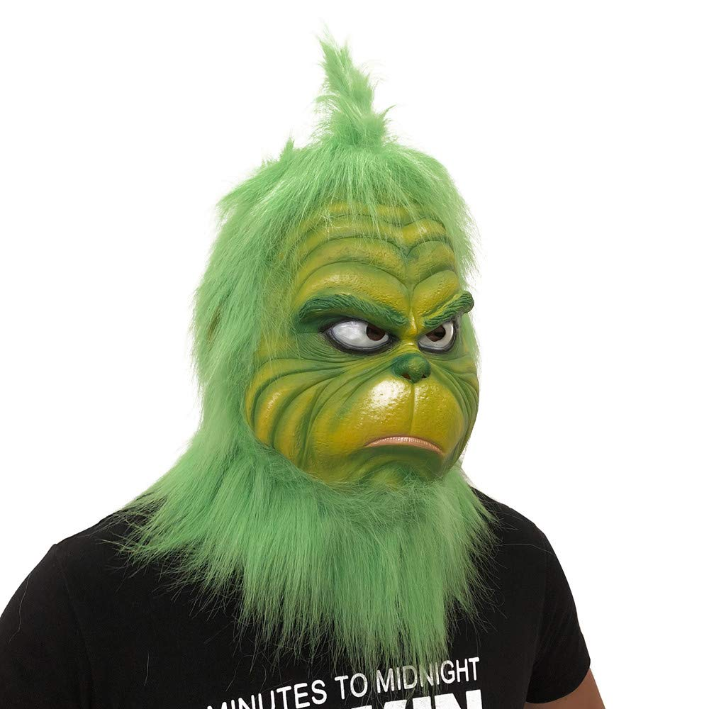 Cosplay Grinch  Mask Melting Face Latex Costume Collectible Prop Scary Mask Toy