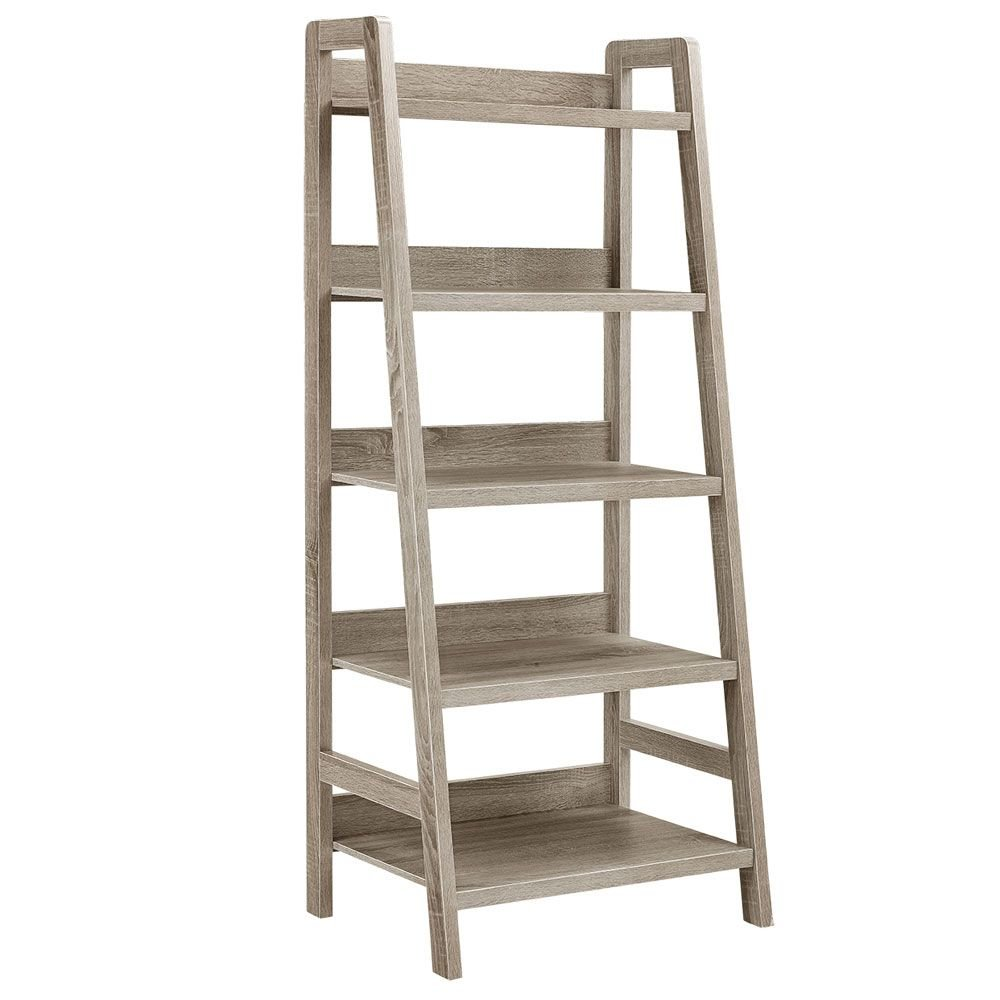 """Tracey Five Shelf Ladder Bookcase - 60""""H Rustic Gray Laminate Dimensions: 25.55""""W X 17.99""""D X 60""""H Weight: 48 Lbs"""