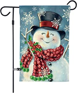 Merry Christmas Garden Flag,Cheer Snowman Xmas Stocking,Double Sided Burlap Decorative House Flags for Home Lawn Yard Indoor Outdoor Decor,12 x 18 Inch