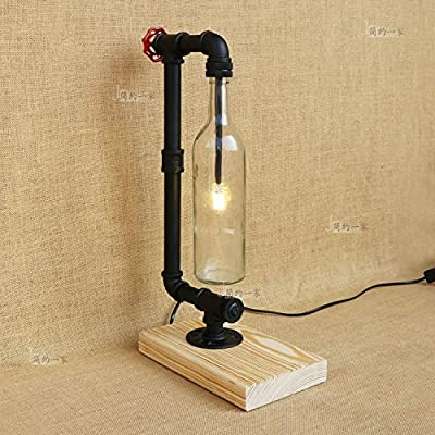 Baycher Simple single head Water pipes Bottle Solid wood base table lamp American Village Creative Retro Gift Bar Cafe table light desk lamp