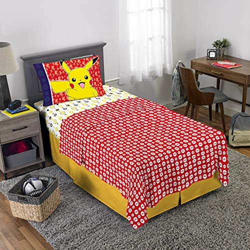 Pokemon Pikachu Character Kids Bedding Soft Microfiber Sheet Set Twin Size 3 Piece Pack -