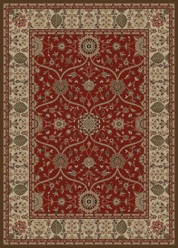 """Concord Global Rugs Mooresville Collection Arts & Crafts Red Round 5'3"""" Area Rug from Concord Global Trading"""