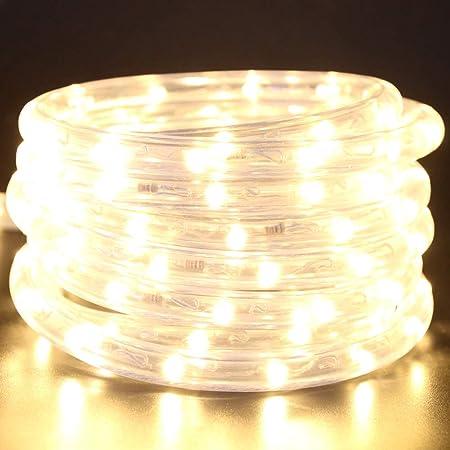 82ft 100-120V AC LED Rope Light Kit Outdoor Garden Waterproof Daylight White