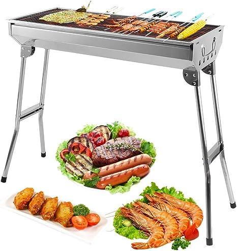 Barbecue a carbonella portatile e pieghevole da tavolo in acciaio inox