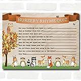 Woodland Animal Neutral Baby Shower Games Nursery Rhyme Quiz Cards
