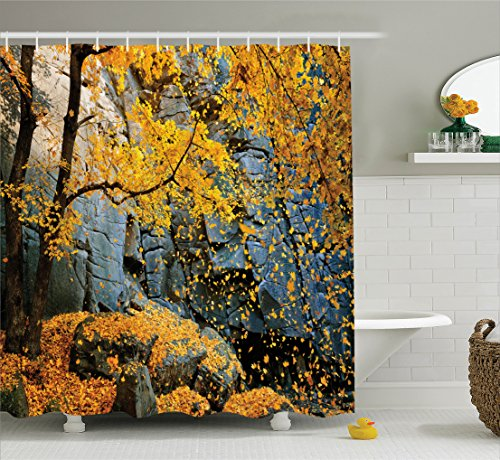 Falling Leaves Bath Towel (Leaves Decor Shower Curtain Set By Ambesonne, Canadian Maple Trees Falling Leaves Down Surrounded By Scenic Rocks Stones Foliage Decor, Bathroom Accessories, 69W X 70L Inches, Slate Blue Yellow)