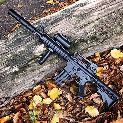 Gewehr Schnellfeuerkarabiner AR 15 Schmeisser mit Akku KS-11 Elektrische Softair BB Munition- St/ärke 0,5 Joule Metalllauf Schalld/ämpfer