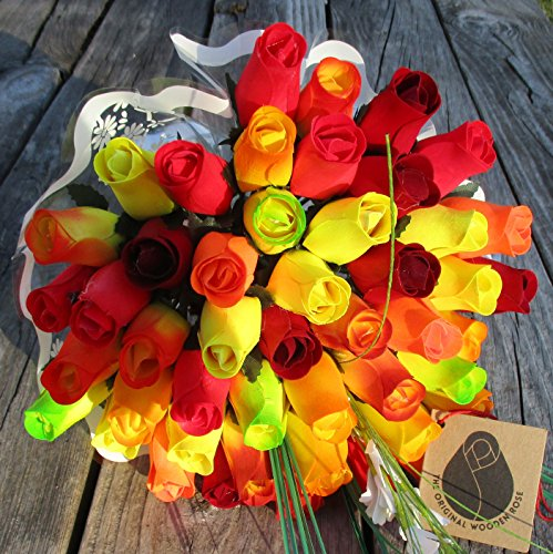 The Original Wooden Rose Fall Harvest Festival Thanksgiving Flower Bouquet Closed bud (3 Dozen) by The Original Wooden Rose (Image #8)