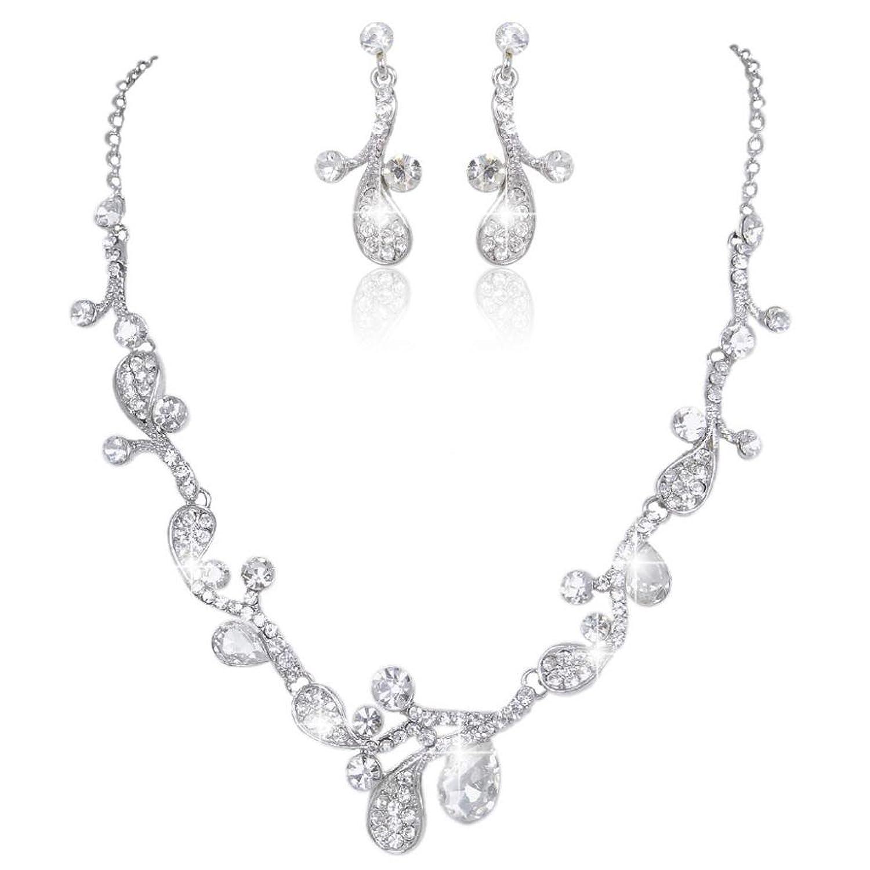 EVER FAITH Bridal Silver-Tone Chunky Flower Leaf Austrian Crystal Clear Necklace Earrings Set