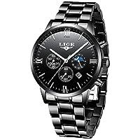 Men's Watches Military Stainless Steel Gold Black Waterproof Chronograph Watch Man Elegant Date Calendar Sport Dress Quartz Watch