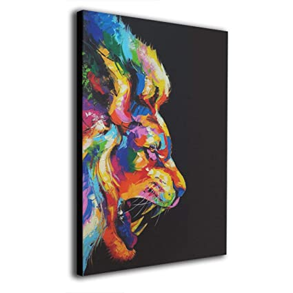 Amazon Com Rainbow Pattern Retro Lion Canvas Prints Wall