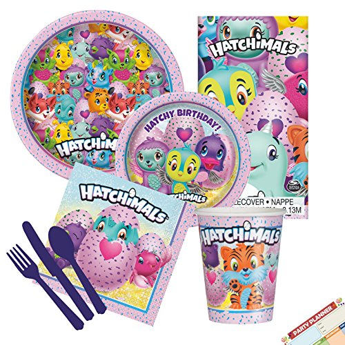 Hatchimals Party Supplies Tableware Complete Kit   Hatchimals Napkins, Plastic Tablecloth, Paper Dinner Plates, Dessert Cake Plates, Cups and Assorted Cutlery   Serves 8 -