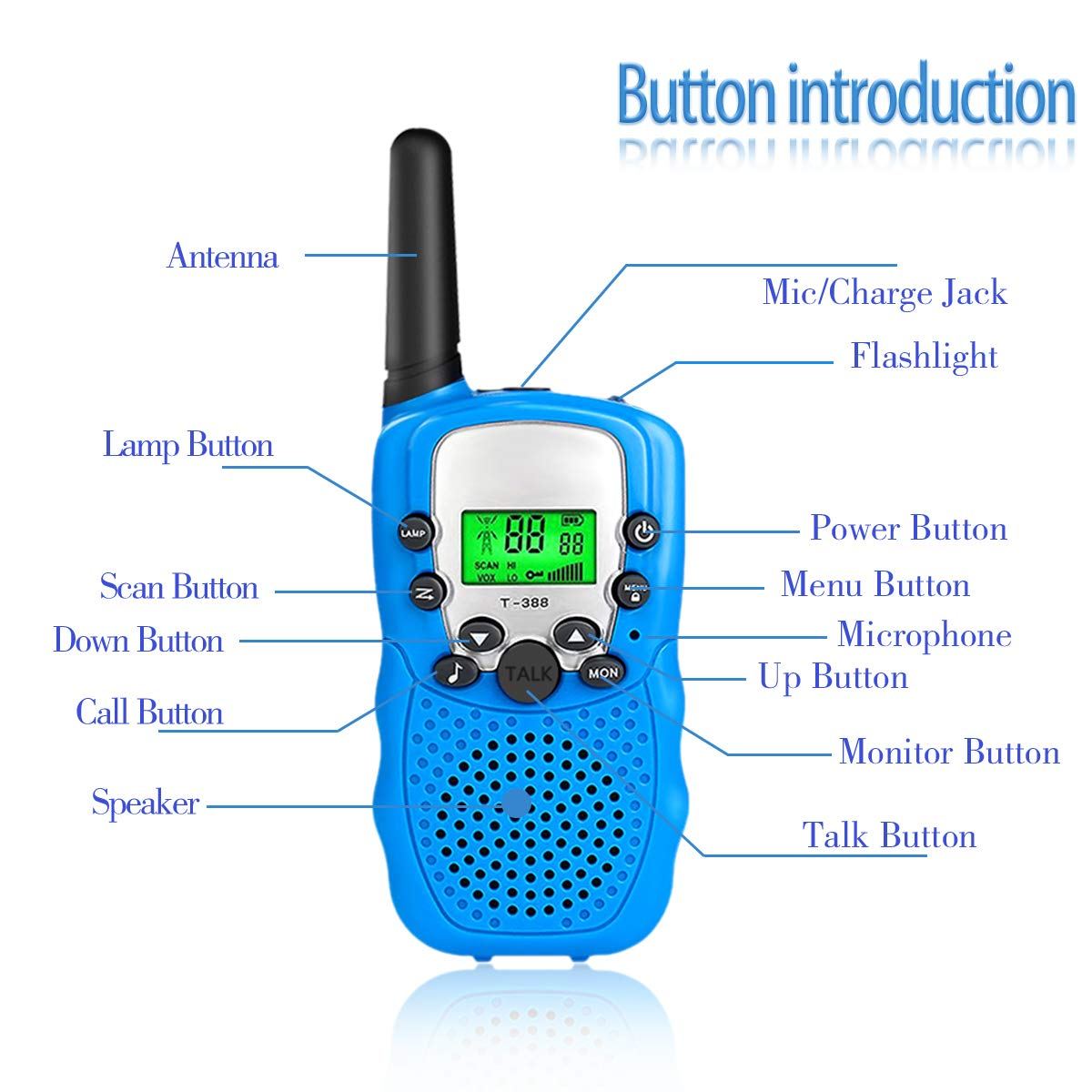 Outdoor Toys for 5-10 Year Old Boys Girls Pussan Kids Walkie Talkies 3 Pack Long Range 2 Miles 22 Channels Kids Camping Outside Summer Games Walky Talky for Children Gifts by Pussan (Image #2)
