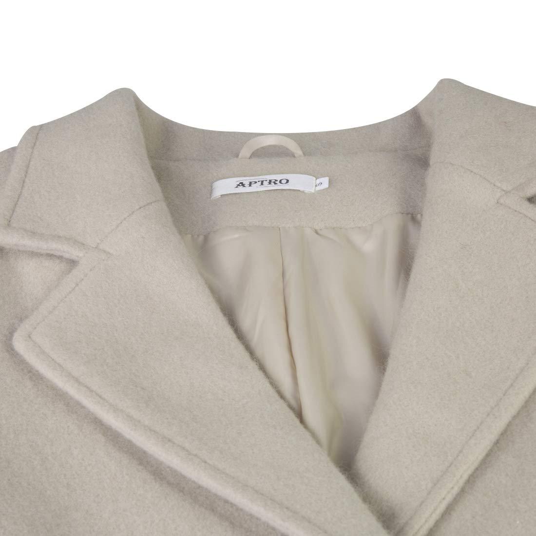 APTRO Womens Winter Wool Pea Coat Long Double Breasted Overcoat Trench Coat