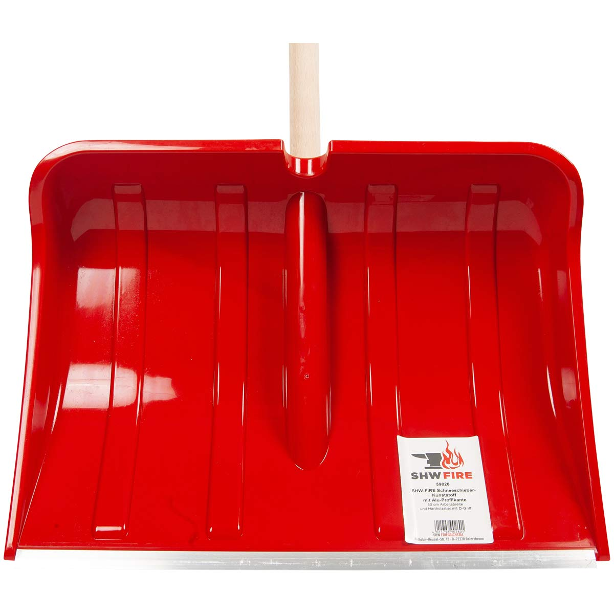 SHW-FIRE 59025 Schneeschieber Schneeschaufel Holz Kunststoffblatt 50 cm breit mit rundem Stiel 110 cm lang