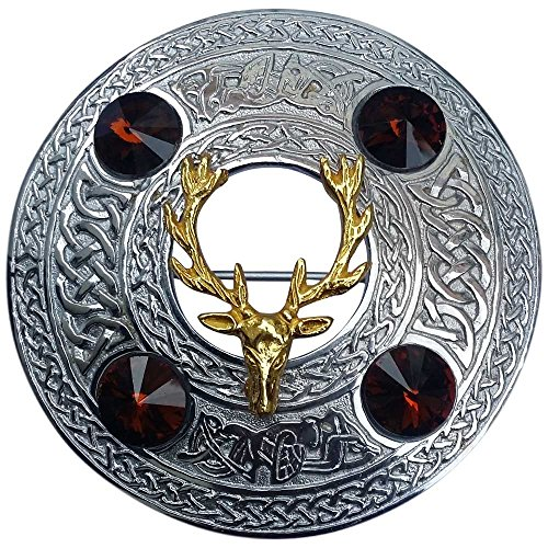 - Scottish Kilt Fly Plaid Brooch Stag Head with 4 Red Stone Chrome Finsih 4