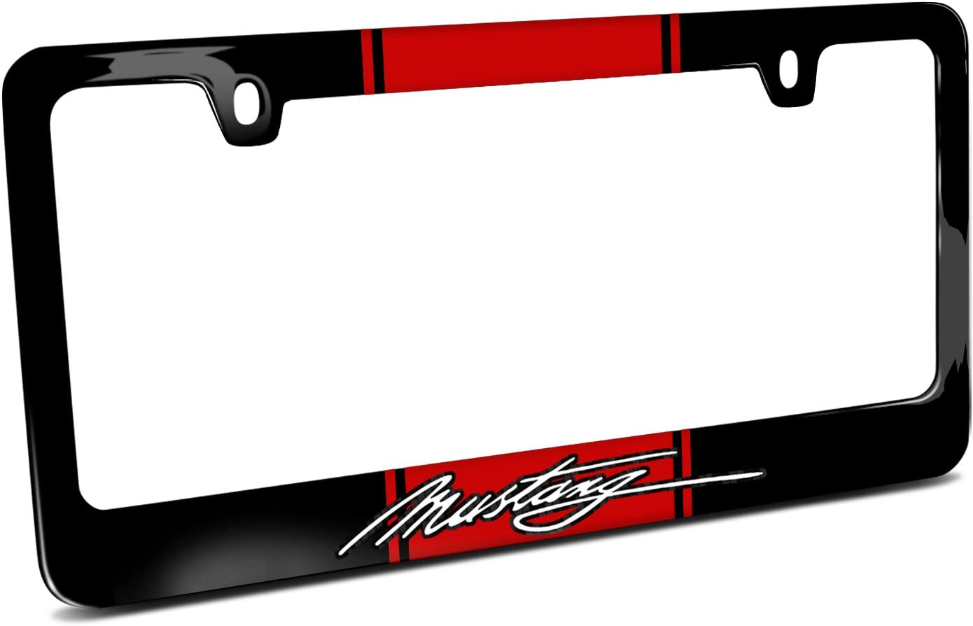 Ford Mustang Script Red Racing Stripe Black Metal License Plate Frame