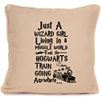 Four Leaf Clover Gift Shop Harry Potter inspired just a wizard girl living in a muggle world great cushion gift idea