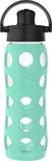 product image for Lifefactory 22 Oz Glass Active Flip Cap/Silicone Sleeve Water Bottle, 22 Ounce, Sea Green