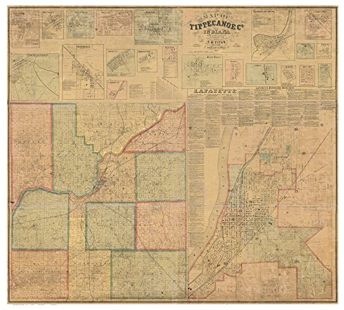 Tippecanoe County Indiana 1866- Wall Map with Homeowner Names Farm Lines Genealogy Old Map Reprint