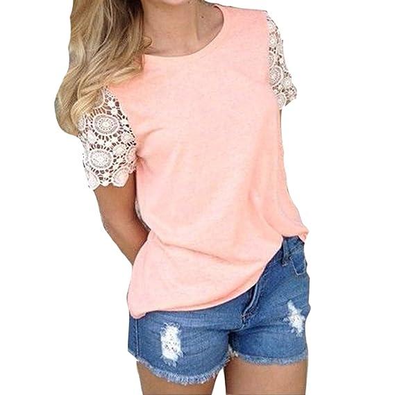 Verano Camiseta para Mujer, Moda Manga Corta Cuello Redondo Blusa Elegante Patchwork de Encaje Camisetas Casual Primavera Camisas Tops Rosado S-XL: ...