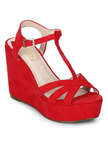 56c7b9ee0e4 TRUFFLE COLLECTION Red Strappy Peep Toe Ankle Strap Wedges  Buy Online at  Low Prices in India - Amazon.in