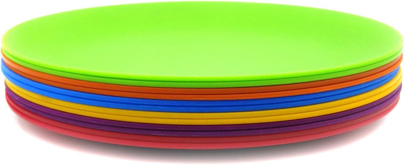 Plastic Plates, 10-inch Dinner Plates Reusable Plates Picnic Plates, set of 12 Multicolor