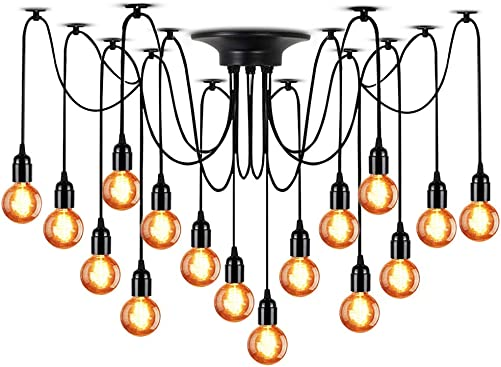 LAMPUNDIT 16-Light Chandelier, Adjustable DIY Ceiling Spider Pendant Lighting, Industrial Hanging Light Fixture Each with 6ft Wire