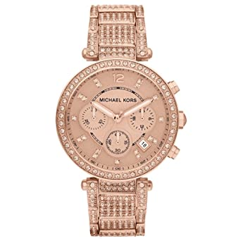 0b9bbebb224 Image Unavailable. Image not available for. Color  Michael Kors Rose Gold-Tone  Glitz Parker Watch