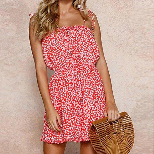 Casual Suave Sonnena impresión Casual 2018 Vestidos Playa y Off Vestido Verano vestido mujer Suelto Mujer Cartas de Rojo Hombro 3 Verano gSgT6qx
