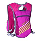 5.5L Vest Backpack BluFied Hydration Lightweight Bladder Bag Packs with Reflective Stripe for Unisex Women Men Running Ski Hiking Cycling Bike (Rose Red)